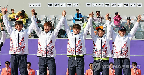 Corea del Sur logra el oro en la prueba por equipos masculinos de 'soft tennis'