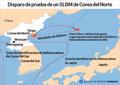 Disparo de prueba de un SLBM de Corea del Norte
