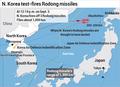N. Korea test-fires Rodong missiles