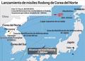 Lanzamiento de misiles Rodong de Corea del Norte