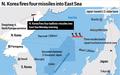 N. Korea fires four missiles into East Sea