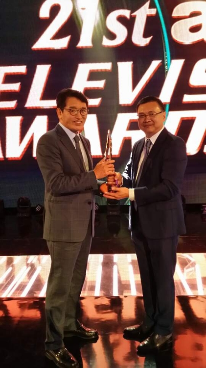 KBS chief receives award for outstanding contributions to Asian television industry