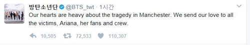 BTS offers condolences over Manchester terror attack via Twitter