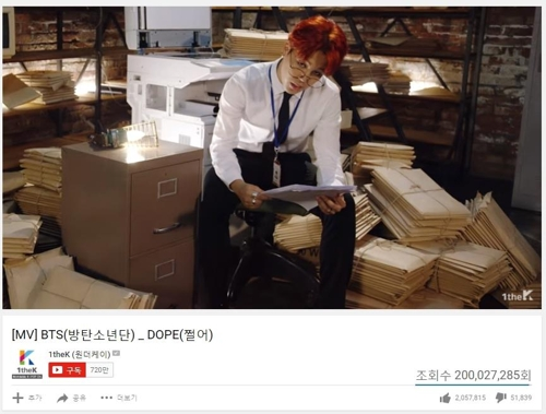 BTS' 'Dope' music video tops 200 mln views on YouTube