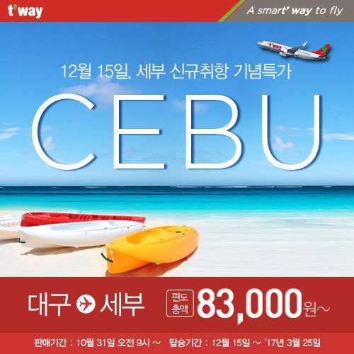 티웨이항공, 대구∼세부 12월 신규취항…국적사 최초
