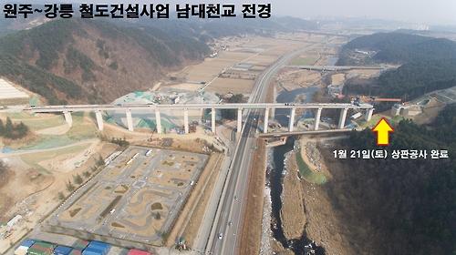 원주∼강릉 철도 노반공사 마무리…120.7㎞ 하나로 연결