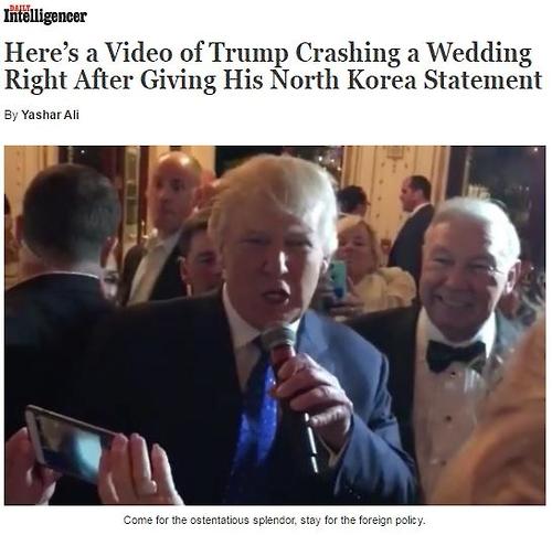 北규탄회견후 트럼프가 아베와 찾은 곳은…후원자 결혼식 피로연