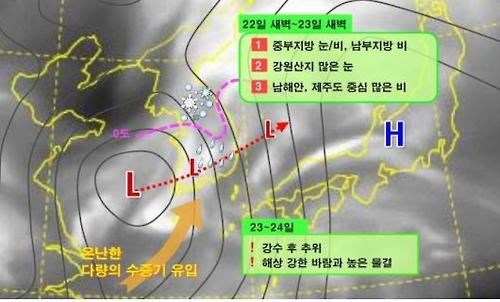 수요일 새벽 서울·경기·강원영서 다소 많은 눈