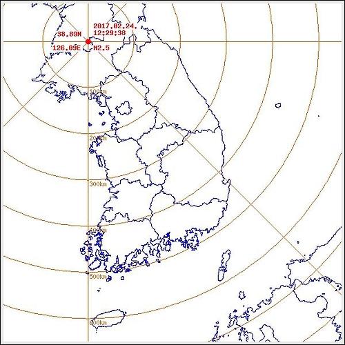 """평양 동남동쪽 33㎞ 지역서 규모 2.5 지진…""""자연지진""""[기상청]"""