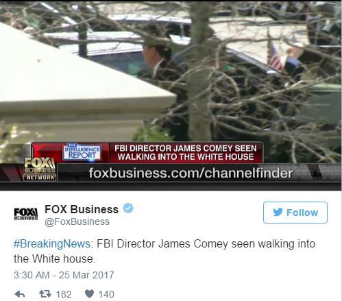 트럼프 '궁지'로 몬 코미 FBI국장, 백악관 방문…트럼프 독대?