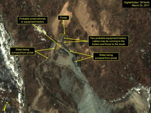 """美38노스 """"北 핵실험 준비 유력…통신선·관측장비 가설 정황"""""""