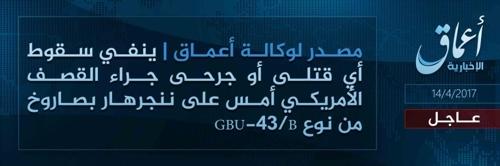 """IS 연계매체 """"美의 GBU-43 아프간 투하에 IS대원 사망"""" 부인"""
