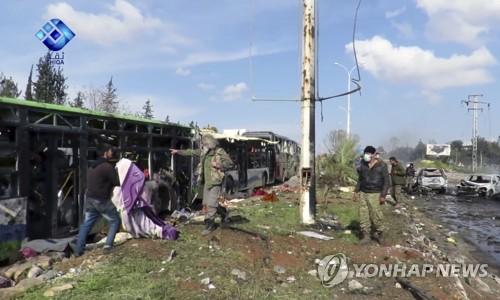 시리아 알레포외곽 대피행렬 폭탄피격 사망자 112명으로 늘어