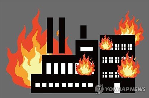 구미공단 합섬공장에 불…건물·기계 등 타