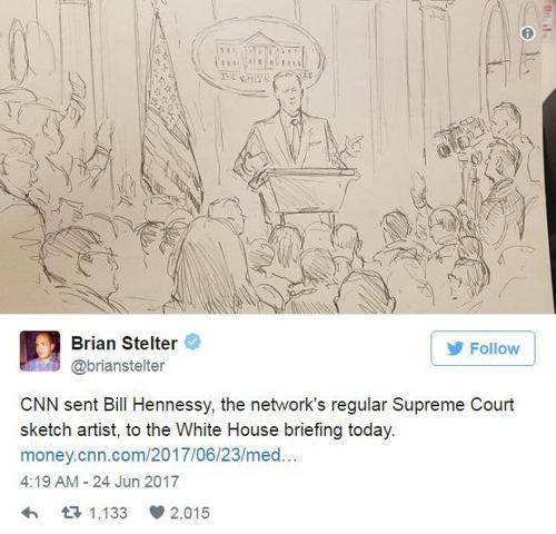 """백악관 """"삽화가는 쉬게 하세요"""" 언론브리핑 사진촬영 허용"""