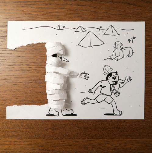종이 한 장으로 창조한 세상…후스크밋나운 '종이인간'