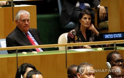 """헤일리 美대사 """"트럼프, 북한과의 전쟁 원하지 않아""""(종합)"""