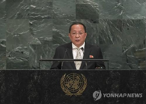 """리용호 """"美 선전포고했다…전략폭격기 영공 안넘어도 자위대응""""(종합)"""
