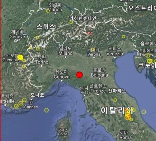이탈리아 북부 파르마 인근 지역 3차례 지진…최대 규모 4.4