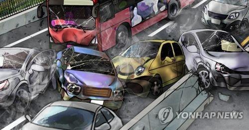 서해안고속도로 서산 부근 9중 추돌…9명 부상(종합)