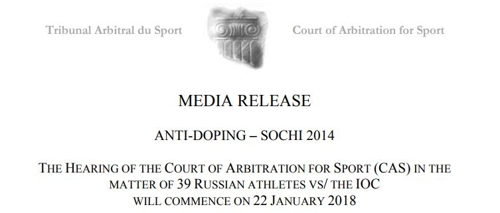 CAS, 22일부터 IOC 징계받은 러시아 선수 39명 청문회