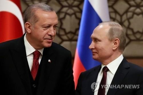 푸틴-에르도안 전화로 서방 시리아 공습 논의…푸틴 서방 비난
