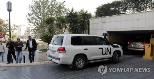 유엔 보안팀, 시리아 두마서 공격받아…인명 피해는 없어