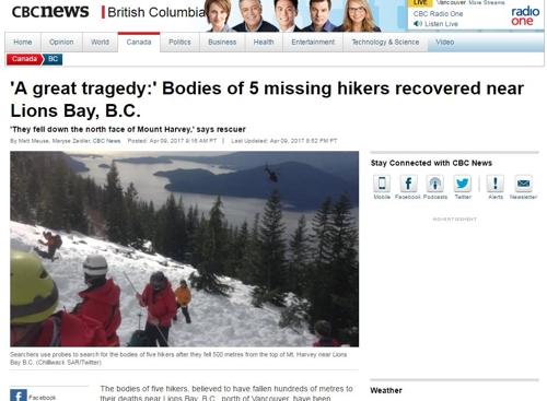 Cinco alpinistas surcoreanos fallecen en un alud en Canadá