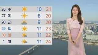 [날씨] 한낮 따뜻하고 미세먼지 '보통'…곳곳 비