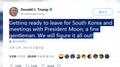 Trump dice antes de su visita a Corea del Sur que ambas partes 'lo resolverán to..