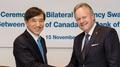 Conclusion d'un accord de swap de devises avec le Canada