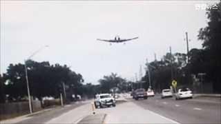 [현장영상] 경비행기 미국서 도로에 비상착륙 시도하다 추락