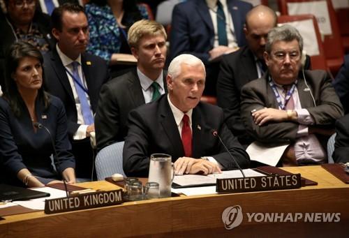 """美부통령 """"대북 외교·경제압박 지속…모든 옵션 테이블에 있다"""""""