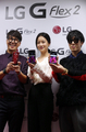 Oh Yeon-seo with LG G Flex 2 smartphone