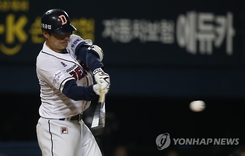 """""""139㎞ 공에도 밀려요""""…민병헌, 경기 뒤 타격훈련"""