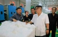 N.K.'s Kim inspects synthetic leather factory