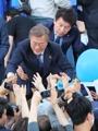 Moon Jae-in en plena campaña presidencial