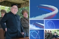 N.K. leader observes combat flight contest