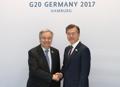 Moon se reúne con el líder de la ONU
