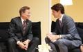 Moon se reúne con el primer ministro canadiense en Hamburgo