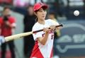 EXID Hyelin at baseball game