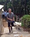 文大統領 愛犬と登山