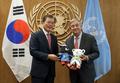 Moon se reúne con el secretario general de la ONU