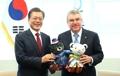 Avec des mascottes de PyeongChang