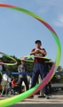 Senior citizens in hula hoop competition