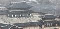 ソウルの古宮に雪