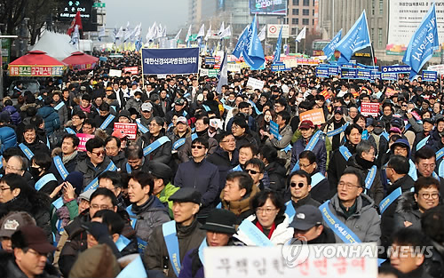 의사 3만명 '문재인 케어 철회' 거리 집회…시청앞 혼잡