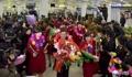 サッカー北朝鮮女子 凱旋帰国
