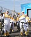 Relevo de la antorcha olímpica en bici