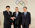 손 맞잡은 IOC 평창회의 남북 대표